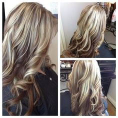 Long layers with blonde lowlights and highlights