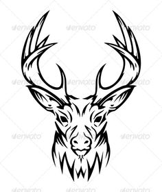 Deer #GraphicRiver Cute Christmas deer made from lines. You can print this on a lot of different methods, also you can use on T-shirts, or engraving on metal material. It could be used as tattoo. Included 2 files format: