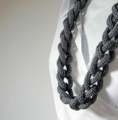 TWEED LIGHT GREY pure wool chain necklace  Ines long  by ylleanna, €35.00
