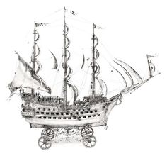 A Monumental Spanish Silver Nef, Length 48 x height 42 inches