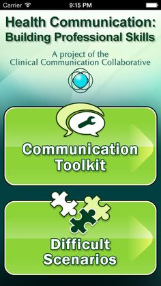 Health Communication - There's an App for that! Free iOS app with over 100 different communication strategies.
