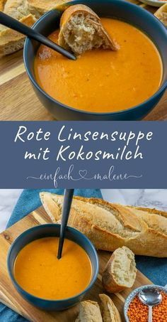 Rote Linsen Suppe mit Kokosmilch, Paprika, Curry & Chili – schmeckt am besten leicht scharf mit etwas frischem Brot. Soup Recipes, Vegan Recipes, Cooking Recipes, Snacks Recipes, Fingers Food, Coconut Milk Soup, Coconut Curry, Red Lentil Soup, Lentil Curry