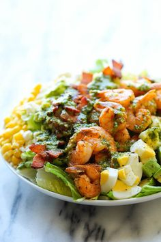 Shrimp Cobb Salad with Cilantro Lime Vinaigrette  1-29-2015