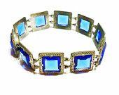 Vintage Art Deco Czech Bracelet, Cobalt Blue Glass, Silvertone, Square Links, Signed, 1920s, 1930s