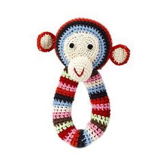 (amazing stuff on this site) Anne-Claire Petit - Crochet Chimp Ring Rattle - Multi