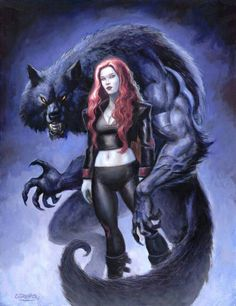 Under The Wolf Moon by sebastien-grenier @ DeviantArt Dark Fantasy Art, Fantasy Wolf, Fantasy Artwork, Fantasy Creatures, Mythical Creatures, Werewolf Art, Vampires And Werewolves, Wolf Love, Creatures Of The Night