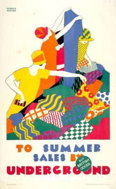 To summer sales by Underground, by Horace Taylor, Picture: London Transport Museum © Transport for London Transport Museum London Underground, London Transport Museum, Public Transport, London Poster, Retro Poster, Poster Vintage, Railway Posters, Inspiration Art, Art Graphique