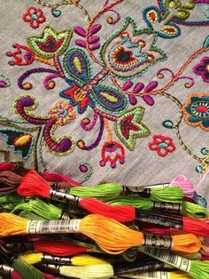 embroidery - love the bold shapes and colours