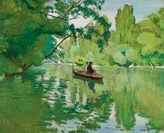 """peinture française : Albert Marquet, 1913, """"La Varenne, bords de Marne"""", pêcheurs en barque, 1910s, rivière, vert"""