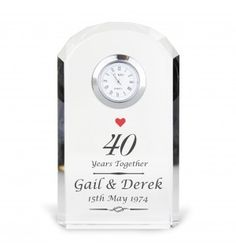 Ruby Anniversary Crystal Clock | Clocks | Exclusively Personal