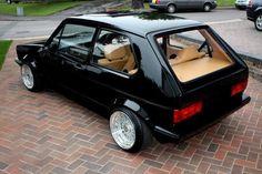 Perfect specification on this GTI - black paintwork, cream interior rolling on BBS wheels. Scirocco Volkswagen, Volkswagen Golf Mk1, Golf 1 Cabrio, Golf Mk2, 147 Fiat, Jetta Mk1, Vw Cabriolet, Automobile, Vw Cars