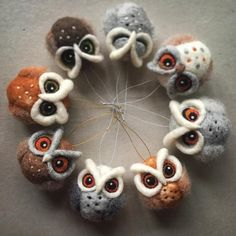 Needle felted owl ornaments