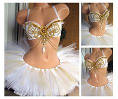 White and Gold Goddess Rave Outfit, Rave Bra TuTu, Crystals, Victorian Burlesque Costume, EDC Outfit, EDM Outfit