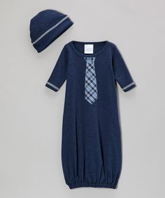 Take a look at this Too Sweet Denim Blue Plaid Tie Gown & Beanie on zulily today!