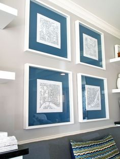 instead of painting accent wall, put small prints onto huge frames and paint mats the accent color...Paint Basic Frame Mats with a Bold Color | Cape27Blog.com