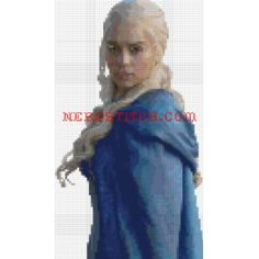 Daenerys Targaryen cross stitch pattern from the popular book series and show, Game of Thrones