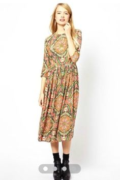 RETRO PALACE SEVEN SLEEVES PLEATED FLORAL DRESS