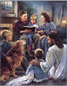 Nathan Greene _ Family Worship Canvas Giclee Art Work God and Jesus Christ Lds Art, Bible Art, Jesus Art, God Jesus, Jesus Reyes, Religion, Pictures Of Christ, Church Pictures, Christian Artwork