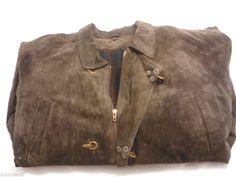 Suede Leather Jacket Women's XXL, Dark Brown