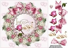 8x8 Love Swans With Roses