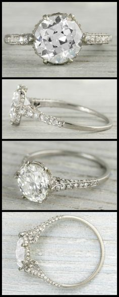 Antique Art Deco engagement ring by J.E. Caldwell with a 2.03 carat old European cut diamond. Via Diamonds in the Library.