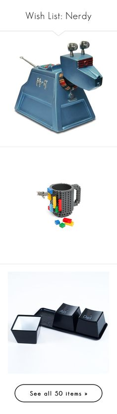 """Wish List: Nerdy"" by hybrid-rainbow ❤ liked on Polyvore featuring doctor who, lego, home, kitchen & dining, drinkware, cold drink cup, plastic cups, black mug, plastic drinkware and set of 4 mugs"