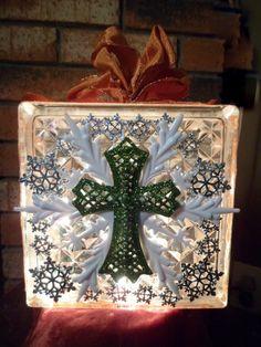 Christmas Cross Glass Block Light by SonjasShadow on Etsy,