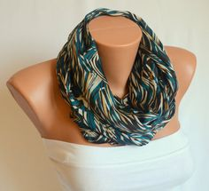 infinity scarf  satin jungle print infinity scarf winter by bstyle, $20.00