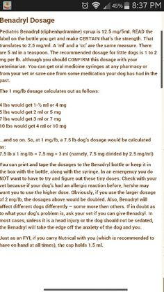 Of benadryl in cats ml for dosage