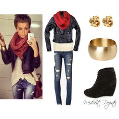 """Ripped Jeans and Leather Jacket 