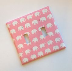 Pink Elephant Nursery decor / Double Toggle Light Switch Plate Cover