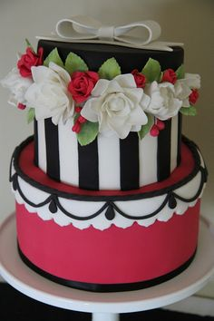 Black and white stripe, pink hat box cake