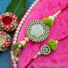 Bhaiya Bhabhi Rakhi Handmade Home Decor, Handmade Decorations, Handmade Gifts, Rakhi Bracelet, Diy Bracelet, Quilling Rakhi, Handmade Rakhi Designs, Buy Rakhi Online, Rakhi Making