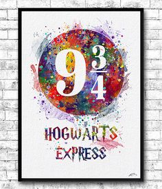 Hogwarts Express Platform 9 from Harry Potter by ArtsPrint Harry Potter Ron Weasley, Harry Potter Decor, Harry Potter Quotes, Watercolor Texture, Watercolor Print, Watercolor Disney, Hogwarts, Wallpaper Backgrounds, Wallpapers