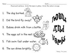 Worksheets Classifying Nouns Verbs And Adjectives Worksheets Answers noun poetry worksheet classroom esl and so cute