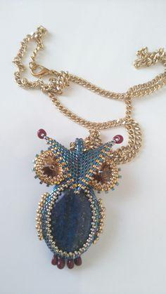 Owl Jewelry, Seed Bead Jewelry, Seed Beads, Beaded Jewelry, Jewlery, Beading Tutorials, Beading Patterns, Owl Pendant, Pendant Necklace