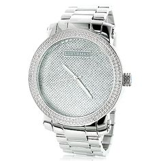 This Luxurman Mens Diamond Watch with a Stainless Steel Band is a limited addition men's wrist watch and features 0.12 carats of genuine diamonds around the bezel, a polished silver stainless steel case with a stainless steel band and a dial paved in sparkling stones. This LUXURMAN diamond watch is water-resistant and makes a fabulous gift for any occasion.