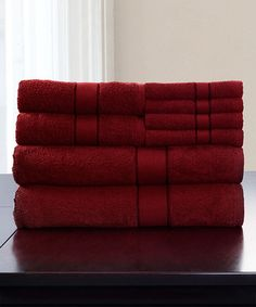 This Burgundy Lavish Home 16-Piece Egyptian Cotton Towel Set is perfect! #zulilyfinds
