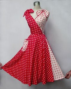 dots red vintage dress