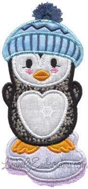 Penguin standing on Iceberg with fringed cap pompom -  - applique machine embroidery design