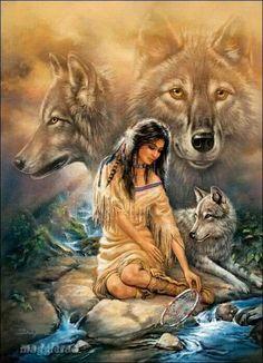 Native Indian and Wolf Cross Stitch Pattern Native American Wolf, Native American Paintings, Native American Pictures, Native American Beauty, American Spirit, American Indian Art, American Indians, American Artists, American Women