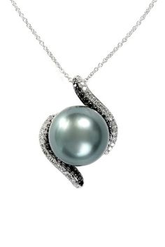 Effy 14K White Gold Tahitian Pearl & Diamond Pendant Necklace by Effy on @HauteLook