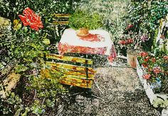 """rose garden paris  18"""" x 26""""  micheal zarowsky / mixed media (watercolour / acrylic painted directly on gessoed birch panel (private collection)"""