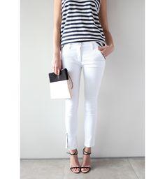 Minimal + Classic: Stripe top, Organic Cotton Skinny Jeans, Strappy sandals