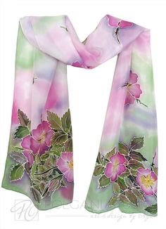 Hand Painted Silk Scarf - Wild Rose - Floral Spring Soft Pink, Purple, Green.
