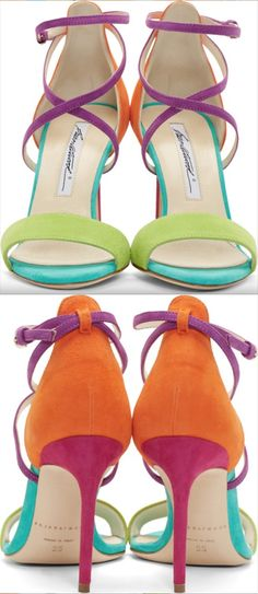 Brian Atwood multicolored color blocked suede sandals pink orange teal green purple heels