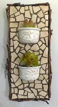 Items similar to Custom Wall Planters-Designed for you, any size, exterior/interior, your china or mine. on Etsy Mosaic Garden Art, Mosaic Flower Pots, Mosaic Pots, Mosaic Wall Art, Mirror Mosaic, Tile Art, Mosaic Glass, Mosaic Tiles, Mosaics