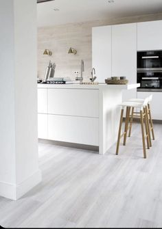 White Laminate Flooring, Grey Vinyl Flooring, Vinyl Flooring Kitchen, Living Room Flooring, Home Decor Kitchen, Kitchen Furniture, Kitchen Interior, Home Kitchens, Furniture Stores