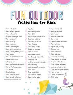 Fun Outdoor Activities for Kids - Modern Design Nanny Activities, Babysitting Activities, Outdoor Activities For Kids, Fun Activities For Kids, Preschool Activities, Kids Fun, Activity Ideas, Fun Things For Kids, Kids Printable Activities