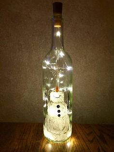Snowman Wine Bottle Decoration with Lights Winter Snowman | Etsy